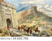 Simpson William - the Great Wall of China - British School - 19th... Редакционное фото, фотограф Artepics / age Fotostock / Фотобанк Лори