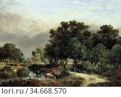 Stark James - Cattle in a Wooded Landscape - British School - 19th... Редакционное фото, фотограф Artepics / age Fotostock / Фотобанк Лори