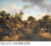 Stark James - Landscape with a Cottage - British School - 19th Century... Редакционное фото, фотограф Artepics / age Fotostock / Фотобанк Лори