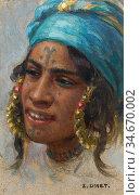 Dinet Etienne - Jeune Femme Au Turban Bleu - French School - 19th... Редакционное фото, фотограф Artepics / age Fotostock / Фотобанк Лори