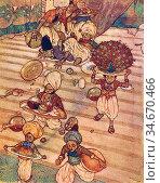 Dulac Edmund - Arabian Nights - He Fell with the Tray - French School... Редакционное фото, фотограф Artepics / age Fotostock / Фотобанк Лори