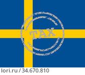 Steuer Stempel und Fahne von Schweden - Tax stamp and flag of Sweden. Стоковое фото, фотограф Zoonar.com/Robert Biedermann / easy Fotostock / Фотобанк Лори