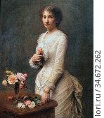 Fantin-Latour Henri Theodore - Madame Lerolle - French School - 19th... Редакционное фото, фотограф Artepics / age Fotostock / Фотобанк Лори
