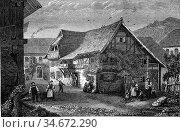 House of Hebel, Hausen, vintage engraved illustration. Magasin Pittoresque... Стоковое фото, фотограф Zoonar.com/Patrick Guenette / easy Fotostock / Фотобанк Лори