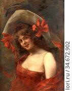 Fould Consuelo - Portrait De Femme Au Large Chapeau Et a La Robe ... Редакционное фото, фотограф Artepics / age Fotostock / Фотобанк Лори
