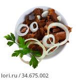 Salad bowl with canned red pine mushrooms, onions and parsley. Стоковое фото, фотограф Яков Филимонов / Фотобанк Лори