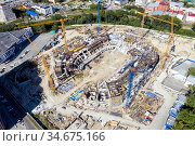 Вид сверху на строительство стадиона или торгового центра в Екатеринбурге. Стоковое фото, фотограф Евгений Ткачёв / Фотобанк Лори