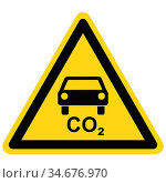 CO2 Auto und Warnschild - CO2 car and danger sign. Стоковое фото, фотограф Zoonar.com/Robert Biedermann / easy Fotostock / Фотобанк Лори