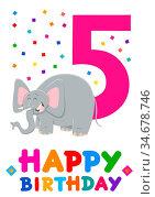 Cartoon Illustration of the Fifth Birthday Anniversary Greeting Card... Стоковое фото, фотограф Zoonar.com/Igor Zakowski / easy Fotostock / Фотобанк Лори