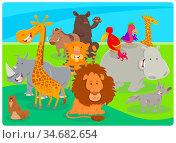 Cartoon Illustration of Happy Wild Animal Species Characters Group. Стоковое фото, фотограф Zoonar.com/Igor Zakowski / easy Fotostock / Фотобанк Лори