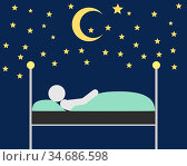 Person im Bett unter dem Sternenzelt - Person sleeps outdoors in bed... Стоковое фото, фотограф Zoonar.com/lantapix / easy Fotostock / Фотобанк Лори