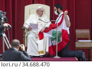 Pope Francis prays for the Lebanon with father Georges Reidi, Maronite... Редакционное фото, фотограф Pierpaolo Scavuzzo / AGF/Pierpaolo Scavuzzo / AGF / age Fotostock / Фотобанк Лори