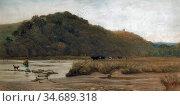 Stocks Walter Fryer - Country Landscape with Woman Crossing a Stream... Стоковое фото, фотограф Artepics / age Fotostock / Фотобанк Лори