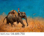 Swan Cuthbert Edmund - Elephant with Dead Tiger - British School - ... Стоковое фото, фотограф Artepics / age Fotostock / Фотобанк Лори