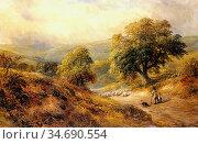 Turner George - Cross-O-Th-Hands Derbyshire - British School - 19th... Стоковое фото, фотограф Artepics / age Fotostock / Фотобанк Лори