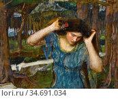 Waterhouse John William - Lamia 3 1 (Study Vain Lamorna) - British... Стоковое фото, фотограф Artepics / age Fotostock / Фотобанк Лори