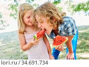 Mädchen hält ein süßes Stück Melone und ihr hungriger Bruder beißt... Стоковое фото, фотограф Zoonar.com/Robert Kneschke / age Fotostock / Фотобанк Лори