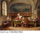 Webb Charles Meer - Beim Notar - British School - 19th Century. Редакционное фото, фотограф Artepics / age Fotostock / Фотобанк Лори