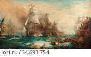 Wyllie William Lionel - the Battle of Trafalgar 21 October 1805 - ... Редакционное фото, фотограф Artepics / age Fotostock / Фотобанк Лори