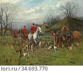 Wright George - Leaving for the Hunt - British School - 19th Century. Редакционное фото, фотограф Artepics / age Fotostock / Фотобанк Лори