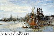 Wyllie William Lionel - Barry Docks - British School - 19th Century. Редакционное фото, фотограф Artepics / age Fotostock / Фотобанк Лори