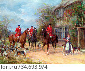 Hardy Heywood - a Halt at the Inn - British School - 19th Century. Редакционное фото, фотограф Artepics / age Fotostock / Фотобанк Лори