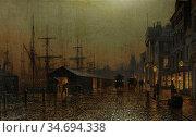 Grimshaw Arthur Edmund - Dock Scene Glasgow - British School - 19th... Редакционное фото, фотограф Artepics / age Fotostock / Фотобанк Лори