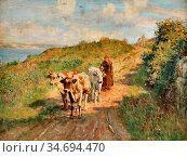 Haddon Arthur Trevor - Woman with Cows on the Road - British School... Редакционное фото, фотограф Artepics / age Fotostock / Фотобанк Лори