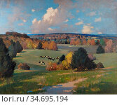 Henry George - Sussex Landscape with Cattle - British School - 19th... Редакционное фото, фотограф Artepics / age Fotostock / Фотобанк Лори