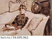 Helleu Paul - Madame Helleu - French School - 19th Century. Редакционное фото, фотограф Artepics / age Fotostock / Фотобанк Лори