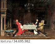 Herrmann Léo - the Cardinal's Dinner - French School - 19th Century. Редакционное фото, фотограф Artepics / age Fotostock / Фотобанк Лори