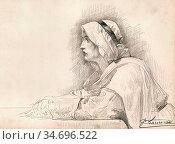 Laurens Jean-Paul - Woman in Mediaeval Dress - French School - 19th... Редакционное фото, фотограф Artepics / age Fotostock / Фотобанк Лори