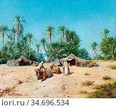Lazerges Paul - Campement Dans L 'oasis - French School - 19th Century... Редакционное фото, фотограф Artepics / age Fotostock / Фотобанк Лори