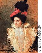 Leandre Charles Lucien - L' Elégante Au Chapeau Rouge - French School... Редакционное фото, фотограф Artepics / age Fotostock / Фотобанк Лори