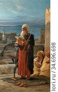 Lecomte Du Noüy Jean Jules Antoine - La Priere Du Soir a Tanger - ... Редакционное фото, фотограф Artepics / age Fotostock / Фотобанк Лори