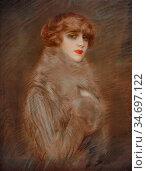 Helleu Paul - Madame Ryan - French School - 19th Century. Редакционное фото, фотограф Artepics / age Fotostock / Фотобанк Лори