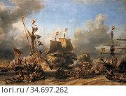 Isabey Eugene - Embarquement De Ruyter Et De Witt a Texel En 1667... Редакционное фото, фотограф Artepics / age Fotostock / Фотобанк Лори