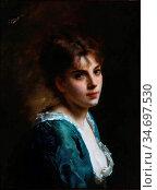 Jacquet Gustave Jean - Fille En Robe Bleu - French School - 19th ... Редакционное фото, фотограф Artepics / age Fotostock / Фотобанк Лори