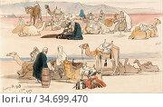Lear Edward - near Suez 1 Pm 16 January 1849 - British School - 19th... Редакционное фото, фотограф Artepics / age Fotostock / Фотобанк Лори