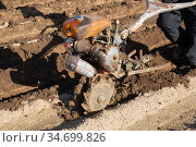 Hand plough tilling soil on field. Стоковое фото, фотограф Яков Филимонов / Фотобанк Лори