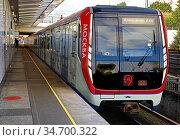 New Moskva train at Kuntsevskaya metro station. Moscow. Редакционное фото, фотограф Валерия Попова / Фотобанк Лори