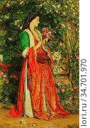 Lewis John Frederick - the Bouquet - British School - 19th Century. Редакционное фото, фотограф Artepics / age Fotostock / Фотобанк Лори