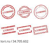 Licensed Stempel - Licensed stamps. Стоковое фото, фотограф Zoonar.com/Robert Biedermann / easy Fotostock / Фотобанк Лори
