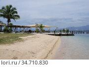 Пляж на острове архипелага Фиджи (2019 год). Стоковое фото, фотограф Юрий Хабаров / Фотобанк Лори