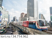 A sky train station the city of Bangkok in Thailand in Southeastasia... Стоковое фото, фотограф Zoonar.com/URS FLUEELER / age Fotostock / Фотобанк Лори