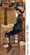 Bruycker Jules De - Portret Van Claire Van Autryve in Het Atelier... Редакционное фото, фотограф Artepics / age Fotostock / Фотобанк Лори