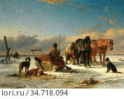Moerenhout Joseph Jodocus - Preparing Fot the Horse Drawn Sleigh ... Редакционное фото, фотограф Artepics / age Fotostock / Фотобанк Лори
