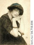 Sauer Walter - Femme Au Chapeau - Belgian School - 19th Century. Редакционное фото, фотограф Artepics / age Fotostock / Фотобанк Лори