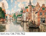 Cassiers Henry - Vue De Bruges Animé 2 - Belgian School - 19th Century... Редакционное фото, фотограф Artepics / age Fotostock / Фотобанк Лори