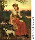 Morris Phillip Richard - Lady and a Dog - British School - 19th Century... Редакционное фото, фотограф Artepics / age Fotostock / Фотобанк Лори